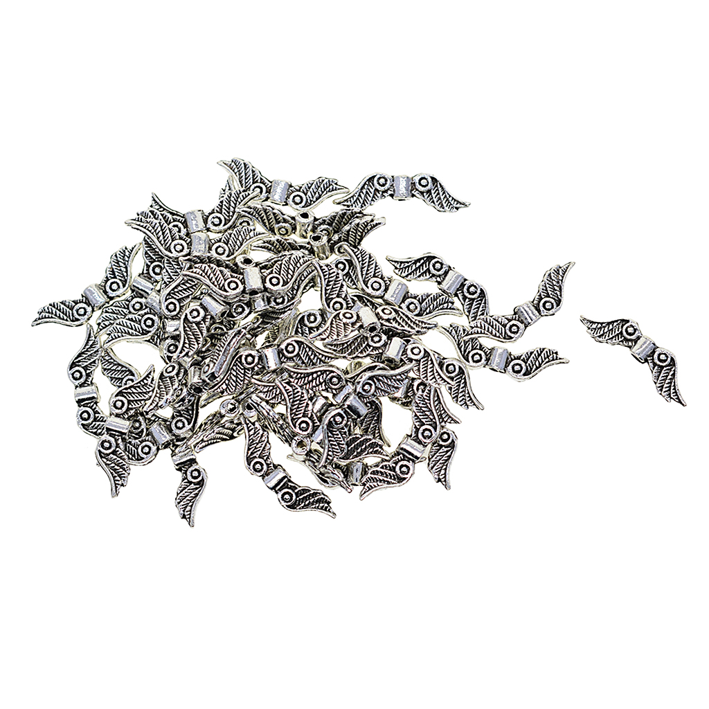 100 Pieces Wholesale 23x7mm Small Antique Silver Tone Angel Wing Charm Beads Spacer Beads 1.5mm DIY Jewelry Findings