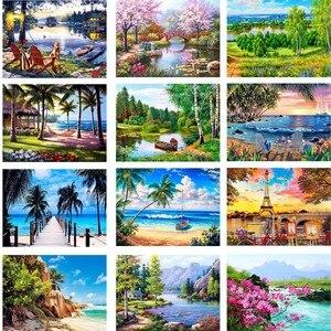 5d алмазная картина «сделай сам» с круглыми бриллиантами, летний тропический пляж, вышивка крестиком, настенная наклейка, Декор, стразы, выши...