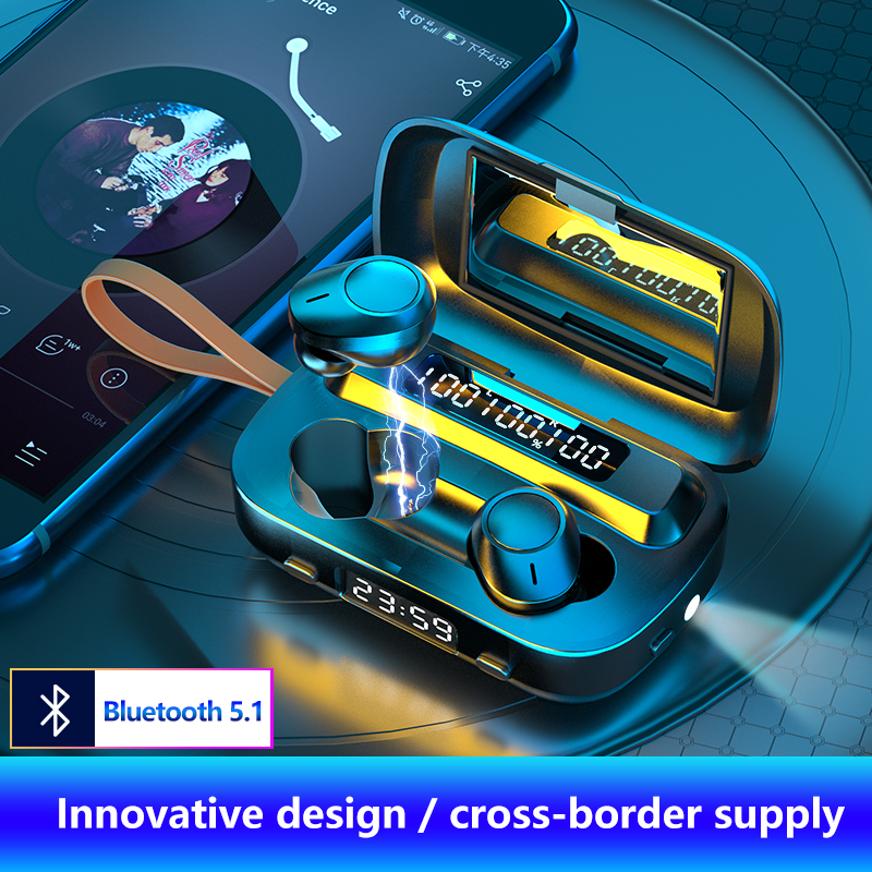Touch control Bluetooth 5.1 headset wireless headset 9D stereo headset 2000mAh charging box LED display suitable for all smartph