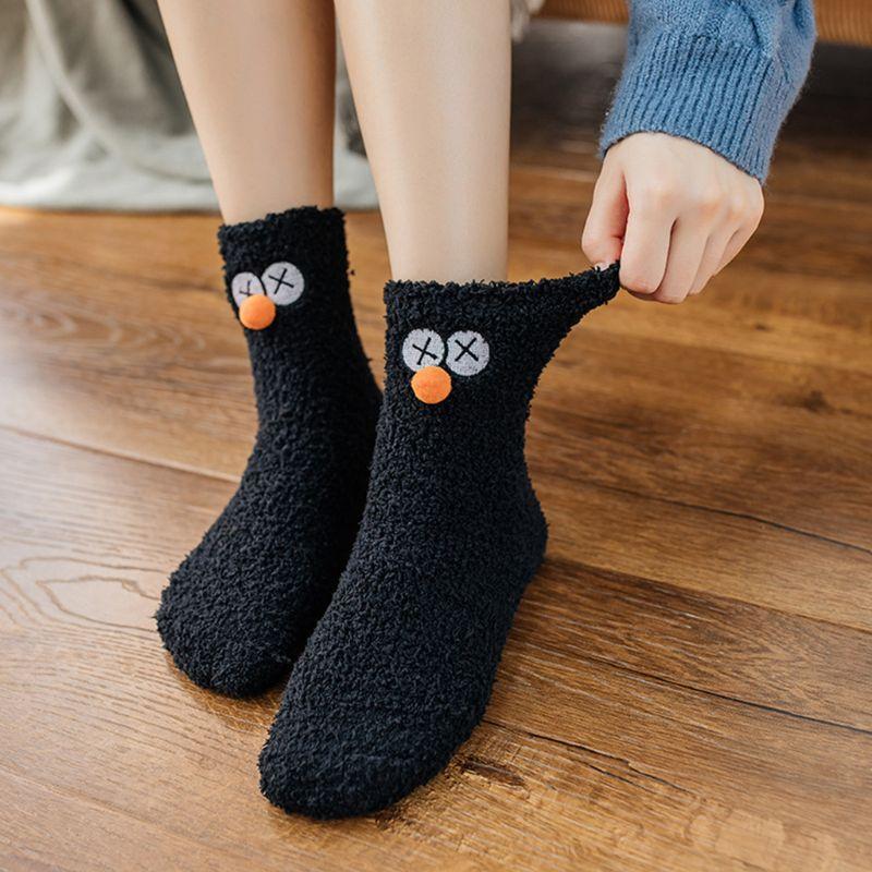 Women Winter Coral Velvet Slipper Socks Cute Eye Embroidery Pompom Sleep Hosiery