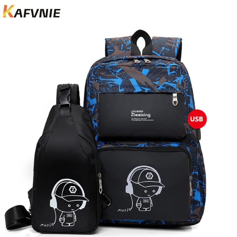 New 2 IN I1 High School USB Male Backpack Set For Boys Chest Bag Student Book Bag Men Women  School Travel Backpack 2018