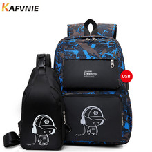 New 2 IN I1 High School USB Male Backpack Set for Boys Chest Bag