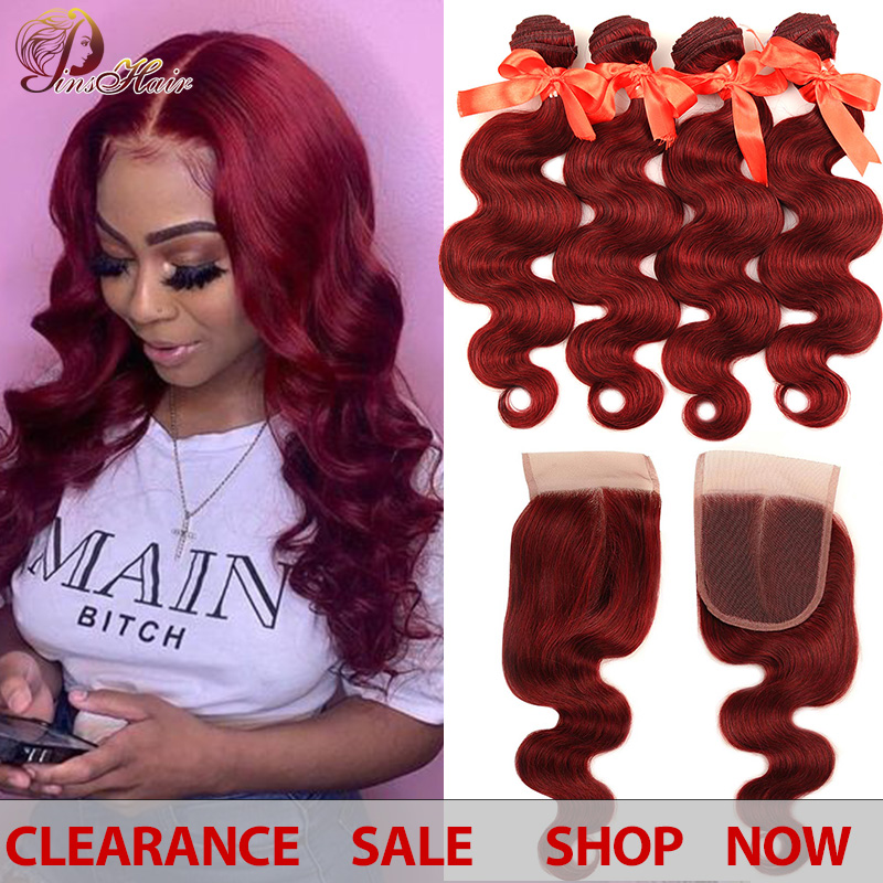 Red Burgundy Bundles With Closure Body Wave Peruvian Hair 99J Red Bundles With Closure Human Hair Weave Bundle Pinshair Non-remy