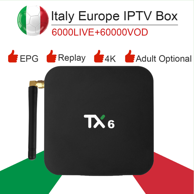 TX6 Android 9 0 dual wifi smart tv box italy super iptv subscription Germany Albania Turkey bein sport netflix ExYu adult iptv in Set top Boxes from Consumer Electronics