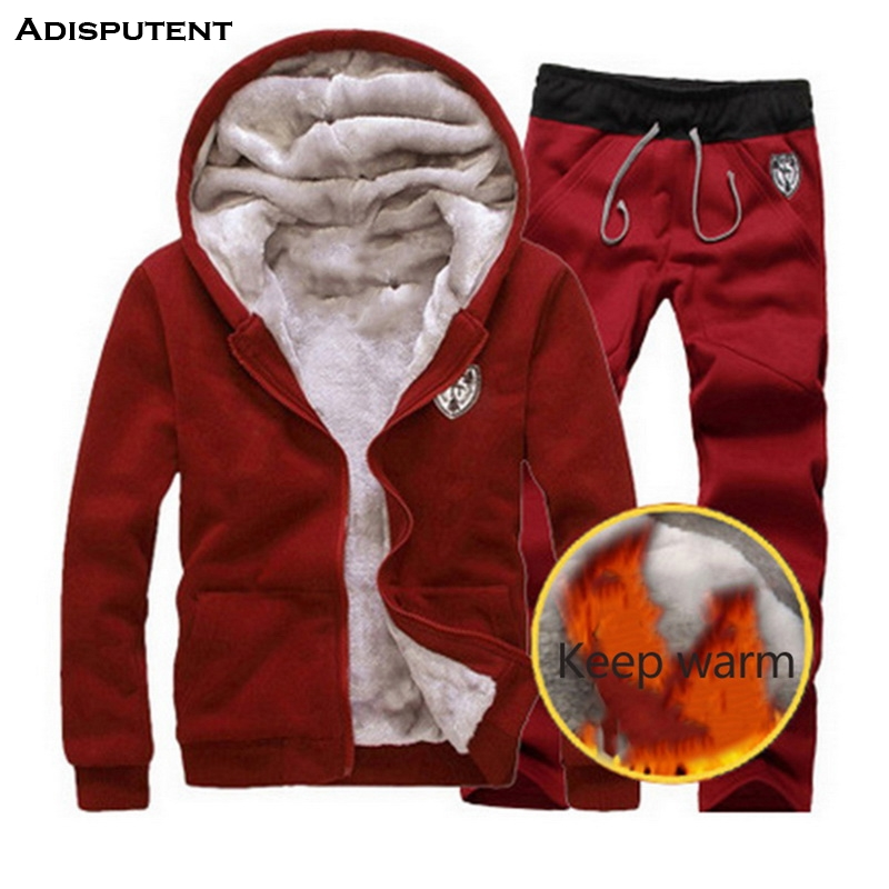 Adisputent Autumn Winter Thick Men Suits Men's Sportswear Tracksuit With Zipper Hoodie Two Pieces Set Drawstring Chandal Hombre