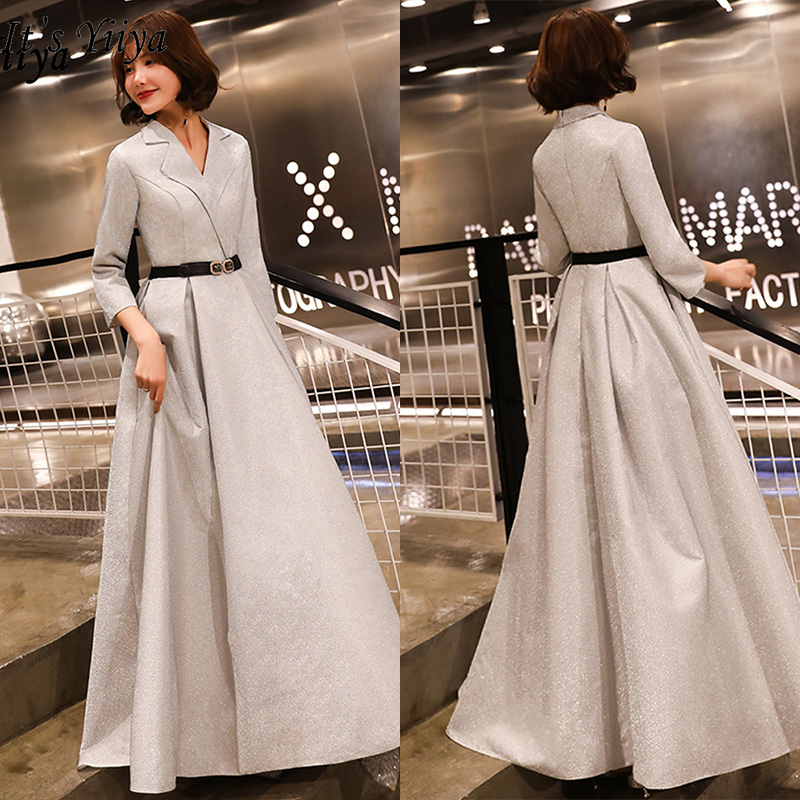 It's Yiiya Evening Dress 2019 Sexy V-neck Women Party Dress Long Sleeve Plus Size Elegant Formal Dresses Robe De Soiree E557