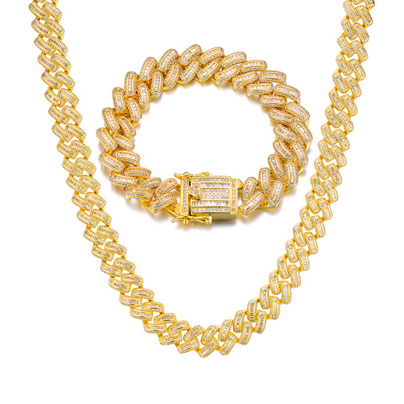15MM Bling glacé AAA CZ carré zircone lien cubain chaîne collier pour hommes cuivre colliers pour hommes Hip Hop bijoux - 2