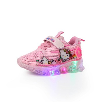 2020 Cartoon Hello kitty hot sales LED girls shoes Hook&Loop high quality baby sneakers Lovely Fashion tennis baby shoes 2020 hot sales fashion baby casual shoes led lighted sneakers baby classic soft high quality baby girls boys infant tennis