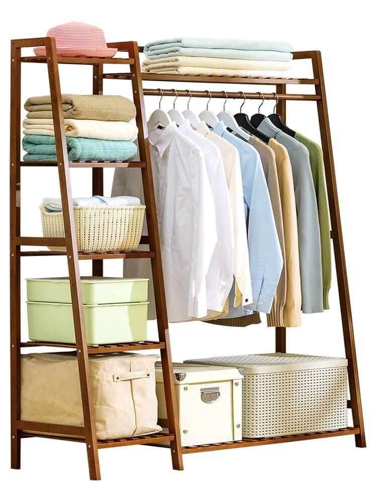 DIY Simple Thick Bamboo Storage Rack Modern Wardrobe Orgnizer Floor Shoe Rack Clothing Hanger Bedroom Furniture Dress Rack