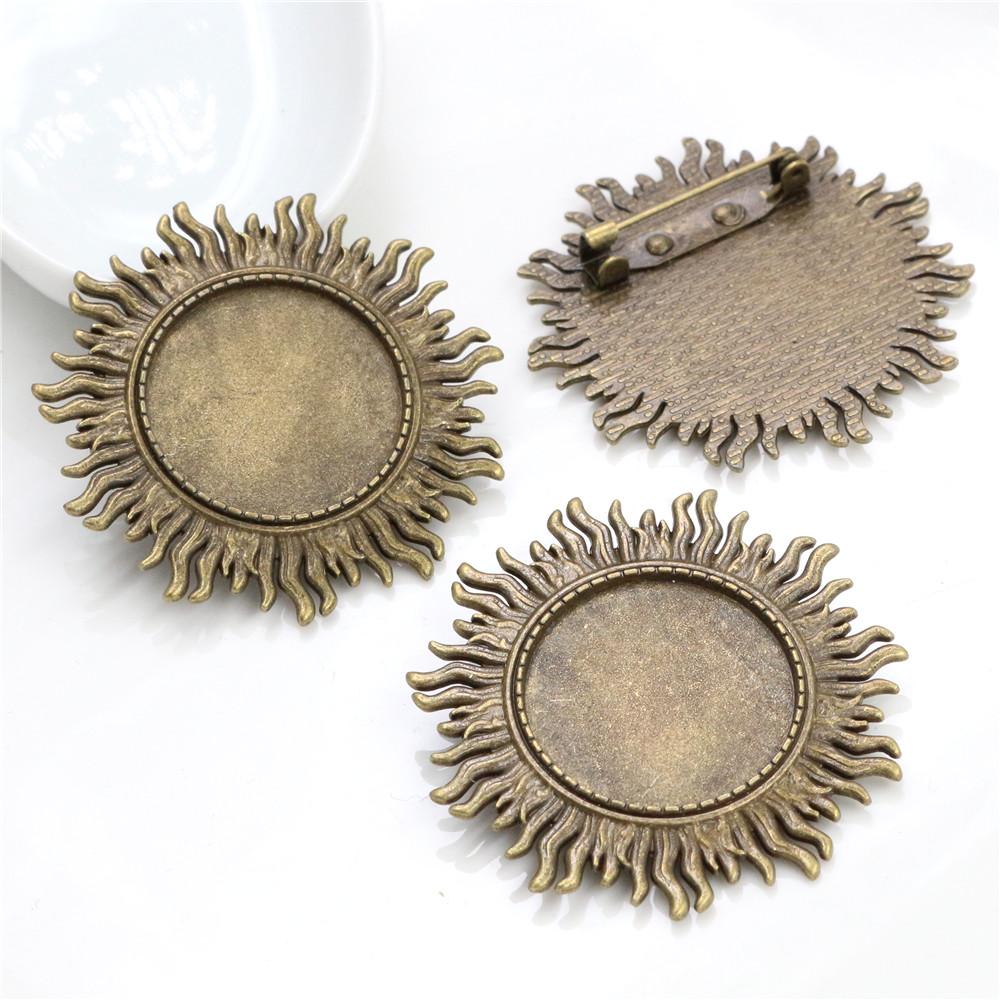 New Fashion  2pcs 25mm Inner Size Antique Bronze Brooch Leaves Style Cabochon Base Setting (A3-24)