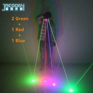 Image 3 - Di alta qualità Fase del partito del DJ danza 2 in 1 Multi linea RGB Laser Guanti With2 Verde 1 Rosso 1 blu Per Il LED luminoso Costumi Mostrano