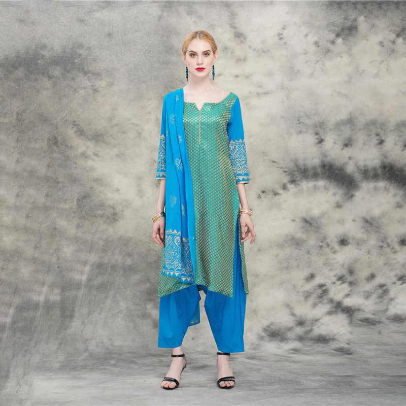 Robe indienne Kurta Punjabi trois pièces coton ethnique costume Kurti pour les femmes dames traditionnel pakistanais Vestido Indiano Roupa