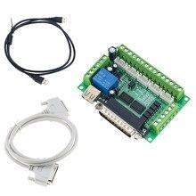 Atualizado 5 eixos adaptador de interface cnc breakout board para driver de motor passo mach3 + cabo usb venda quente e cabo lpt