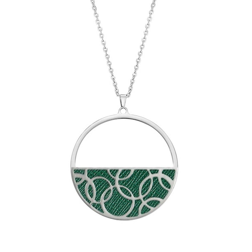 Legenstar cerceau rond pendentif collier pour femmes réversible en cuir collier femme 2019 bijoux en acier inoxydable bijoux à breloques