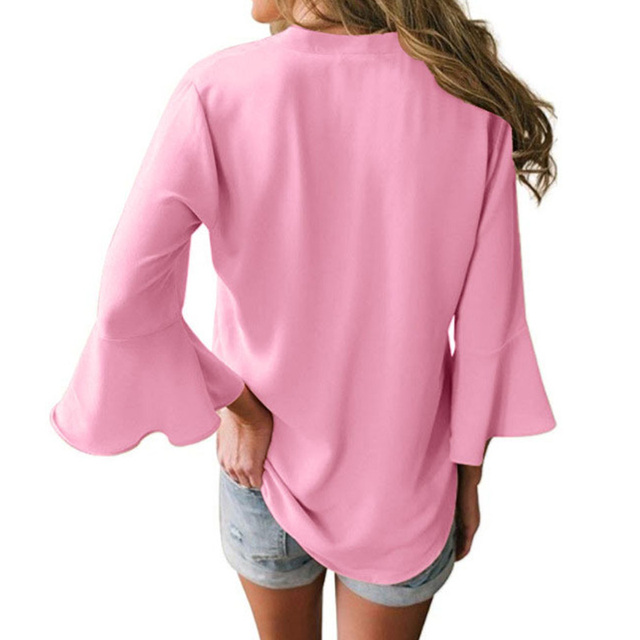 Large Size Casual Loose Chiffon Shirt Women Lotus Leaf Seven Sleeves Blouse Spring Summer Trendy Pure Color V-Neck Tops S-5XL 2