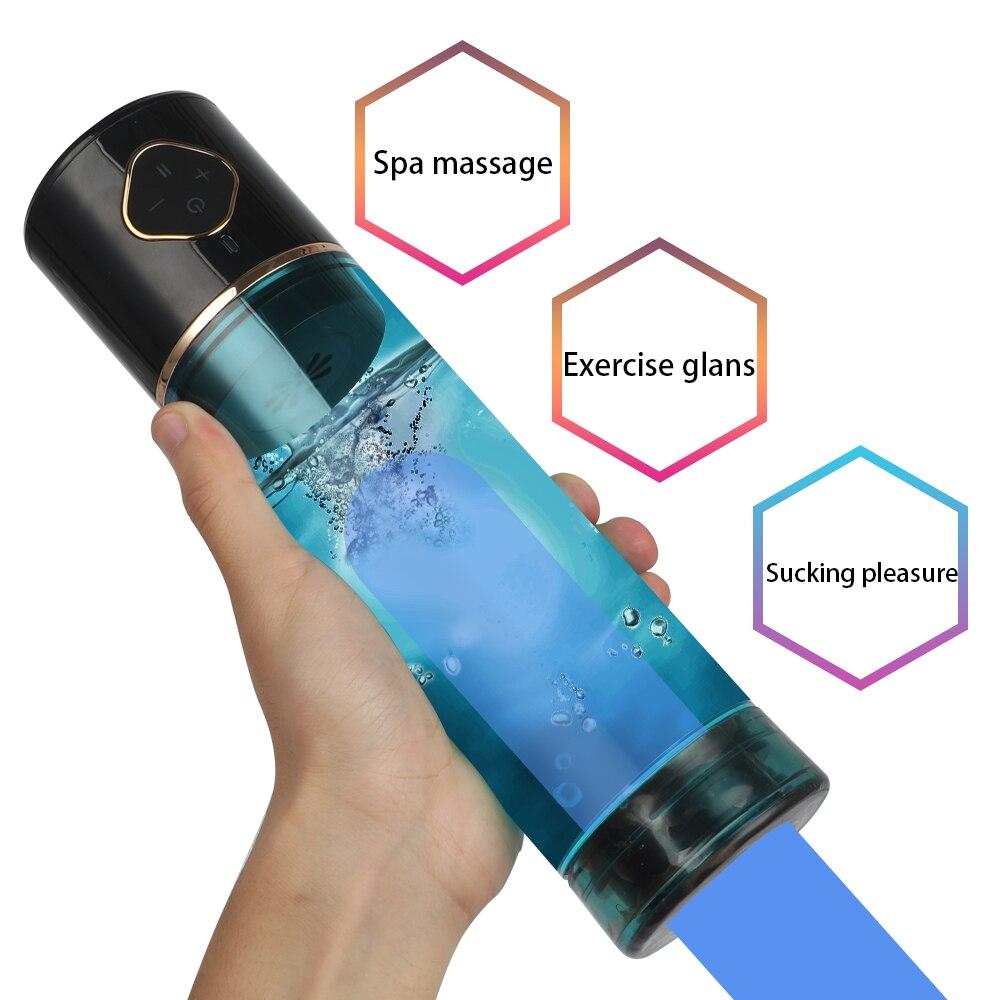 Электрический Мужской мастурбатор, насос для увеличения пениса в ванной, воздушный вакуумный насос, тренажер для пениса со спа, секс-игрушк...