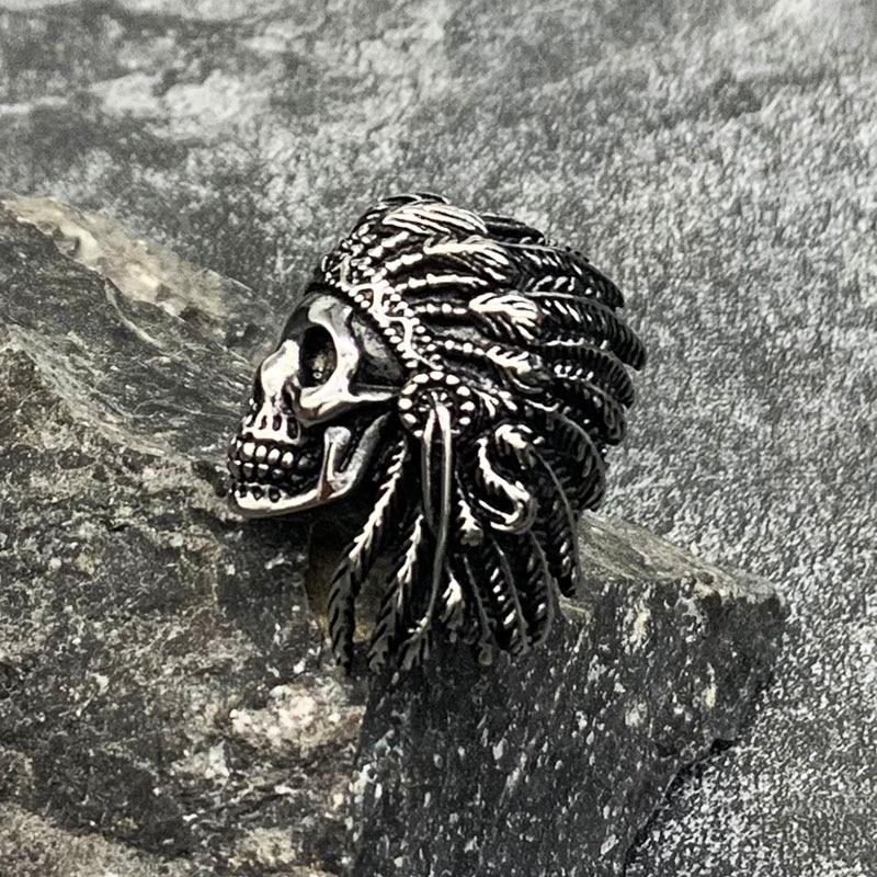 Vintage Black Skull Bone Ring Stainless Steel Halloween Band for Men Size 8-14