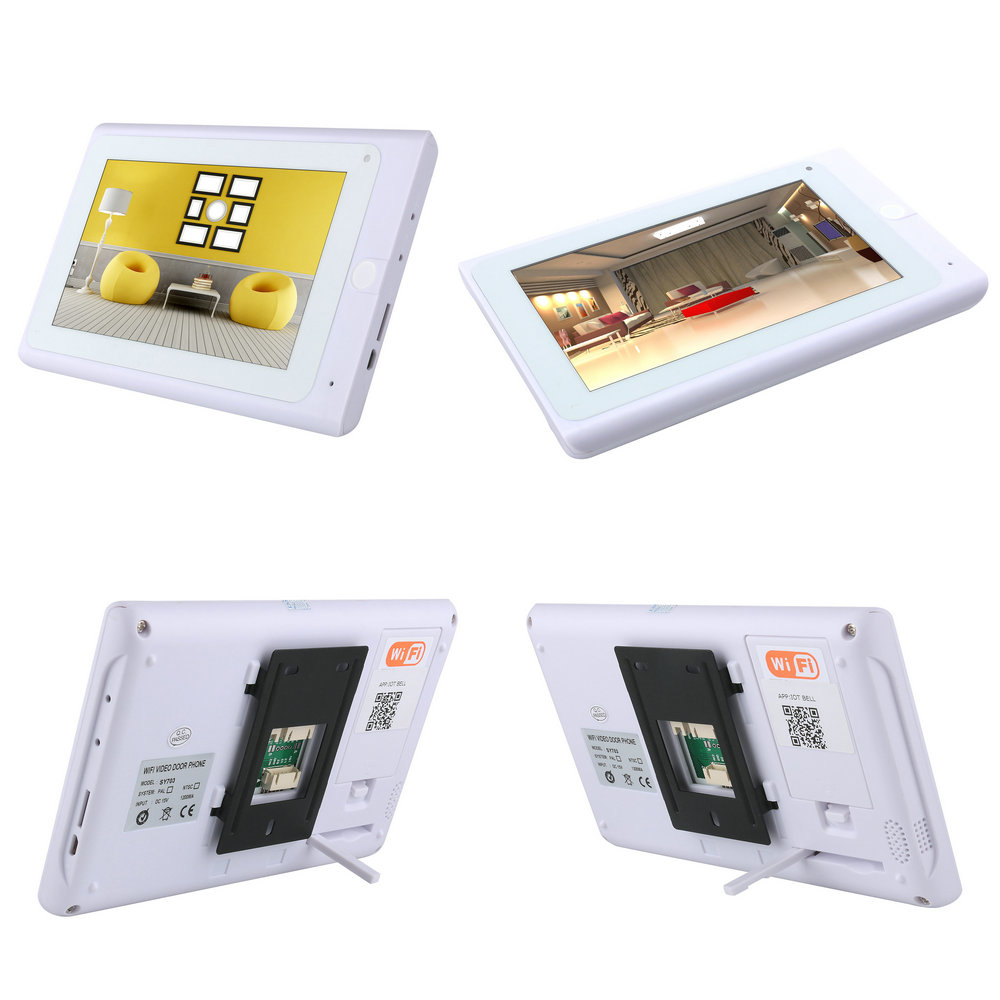 2 monitores 7 pulgadas inalámbrico Wifi RFID Video puerta teléfono timbre intercomunicador sistema de entrada con IR CUT con cable 1080P cámara con cable - 2