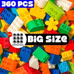360Pcs Big Size Building Blocks Gift Sticker Colorful Bulk Bricks Figure Accessories Compatible With ED DuploED Kids Toys