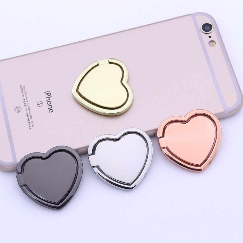 1PC Metal Heart Mobile Phone Ring Holder Telephone Support Accessories Magnetic Car Bracket Socket Stand for Mobile Phones
