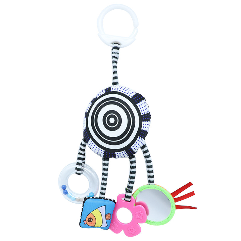 Cute Mobile Baby Toys Stroller Soft Handing Bell Crib Rattle Toys Black White Cart Hanging Rattle Baby Bed Trailer Rattles ToyS