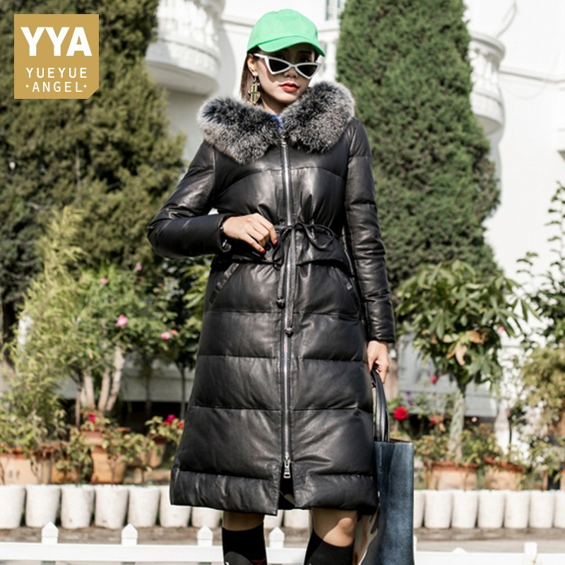 Winter New Sheepskin Lace Up Slim Fit Womens Overcoats Medium Length Fox Fur Collar Genuine Leather Warm Down Coats Plus Size