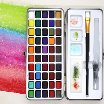 paul rubens 12 24 48 watercolor paint set with metal case solid artist water color painting pigment for drawing art supplies 50 Colors Solid  Water Color Pigment Portable Metal Box Watercolor Paint for Beginner Drawing Watercolor Painting Art Supplies