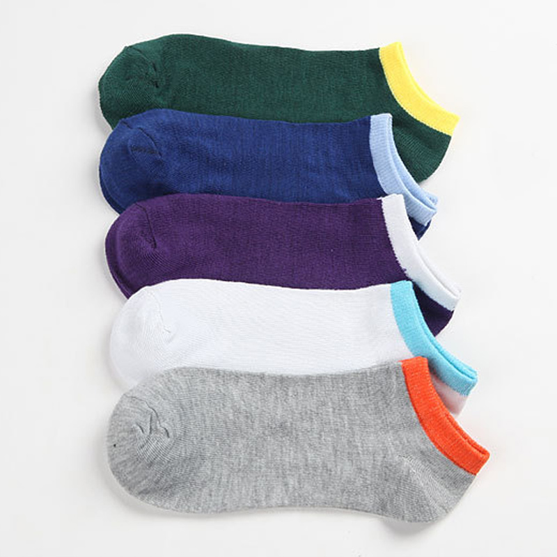 New Hot 5 Pairs Fashion Spring Summer Men Socks Comfortable And Breathable Splice Color Non-slip Ankle Low Cut Sock SMR8