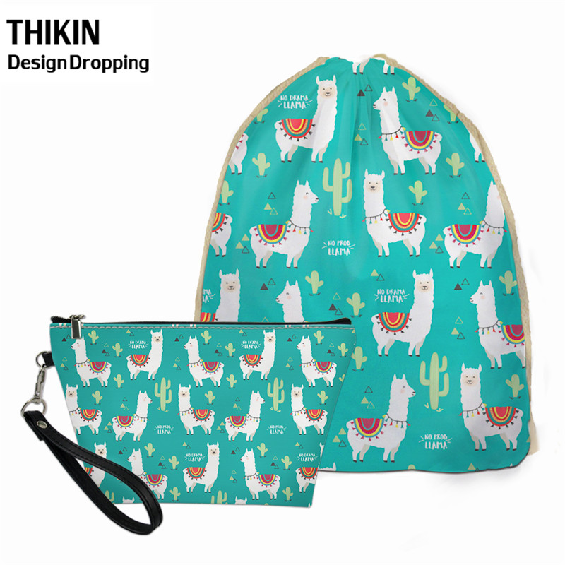 THIKIN 2pcs Cartoon Cute Alpaca Design Women Travel Drawstring Bagpack & PU Leather Female Make Up Bags Wholesale Custom Logo