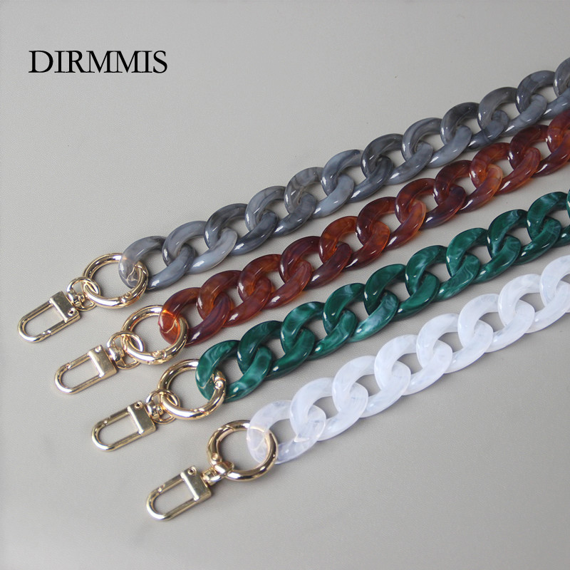 New Fashion Woman Handbag Accessory Chain Detachable Replacement White Beige Red Blue Grey Strap Women Shoulder DIY Resin Chain