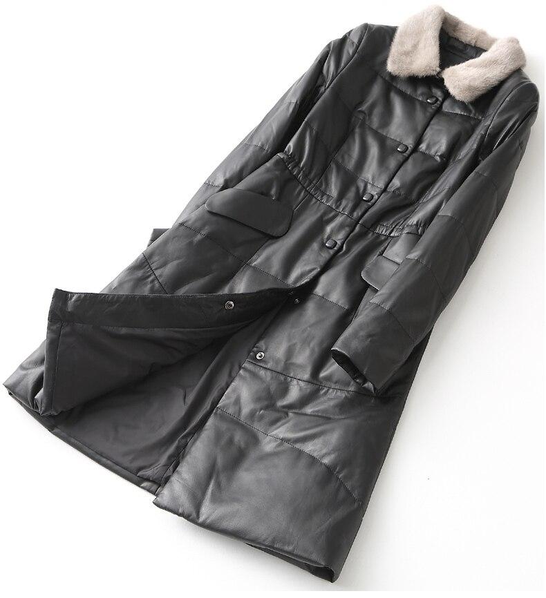 Down Winter Women's Jackets Long Genuine Leather Jacket Natural Sheepskin Coat Female Mink Fur Collar Plus Size YY1082B
