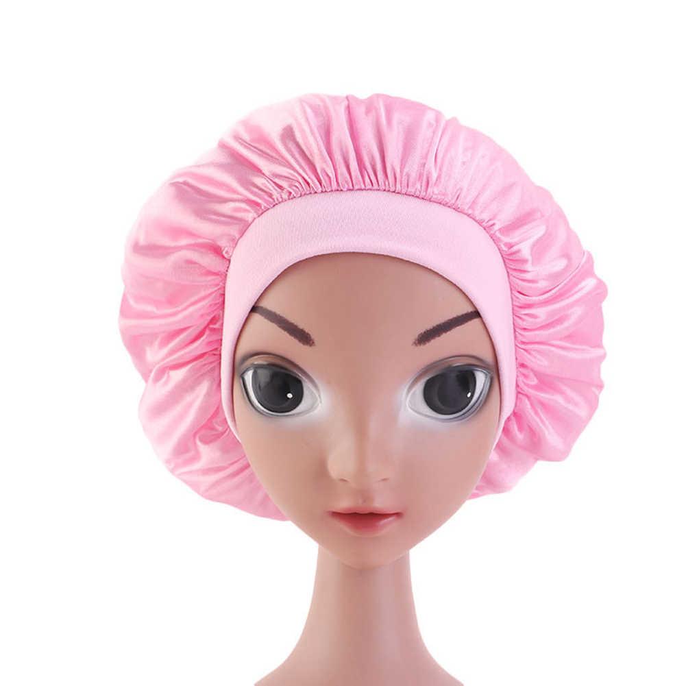 Kids Kinderen Satijn Mutsen Lichtgewicht Brede Band Night Slapen Hoed Haarverzorging Cap