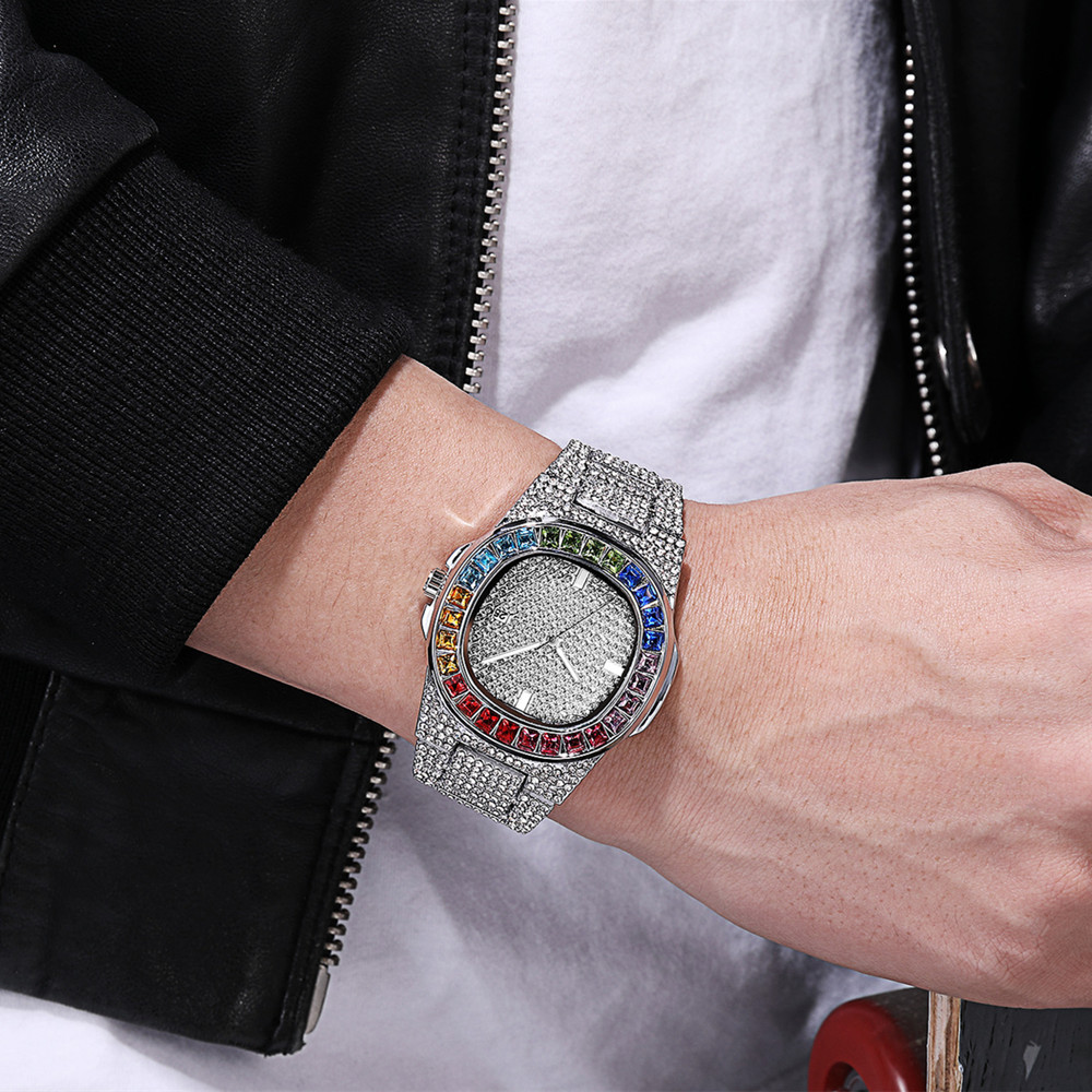Silver Men Calendar Watches High Quality Women Colorful Rhinestone Watches Luxury Sparkling Dress Watch Steel Strip Drop Ship