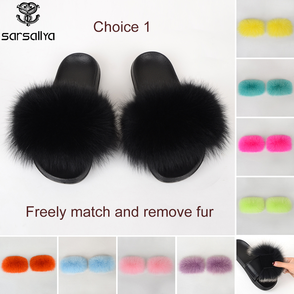 Set Slippers Women Real Fur Slides Female Furry Sandals Ladies Outdoor Fluffy Summer Luxury Flat Shoes Women New Dropshipping