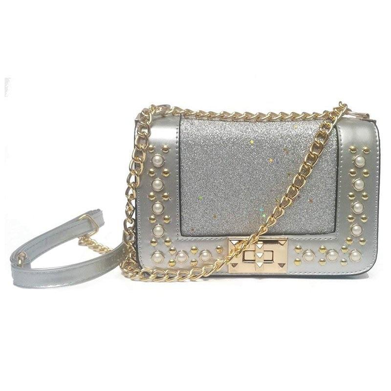 Handbags Women's Cross Body Bags Messenger Shoulder Bag For Women Shining Silver