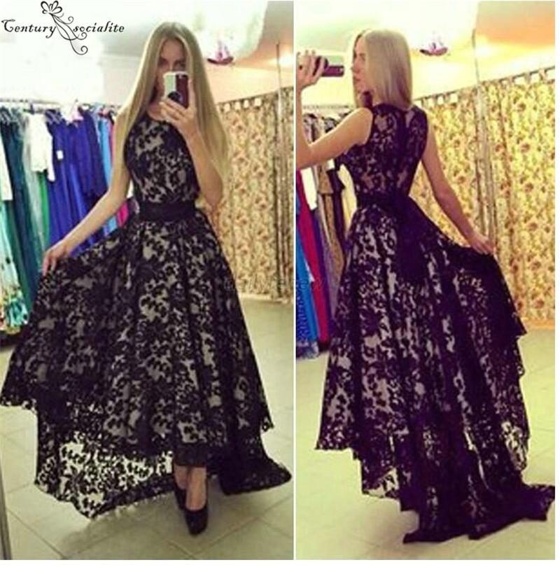 Lace Black   Prom     Dresses   Long Hi-Lo O-Neck Zipper Back Sweep Train 2019 Evening   Dress   Party Gowns Vestidos De Festa Cheap