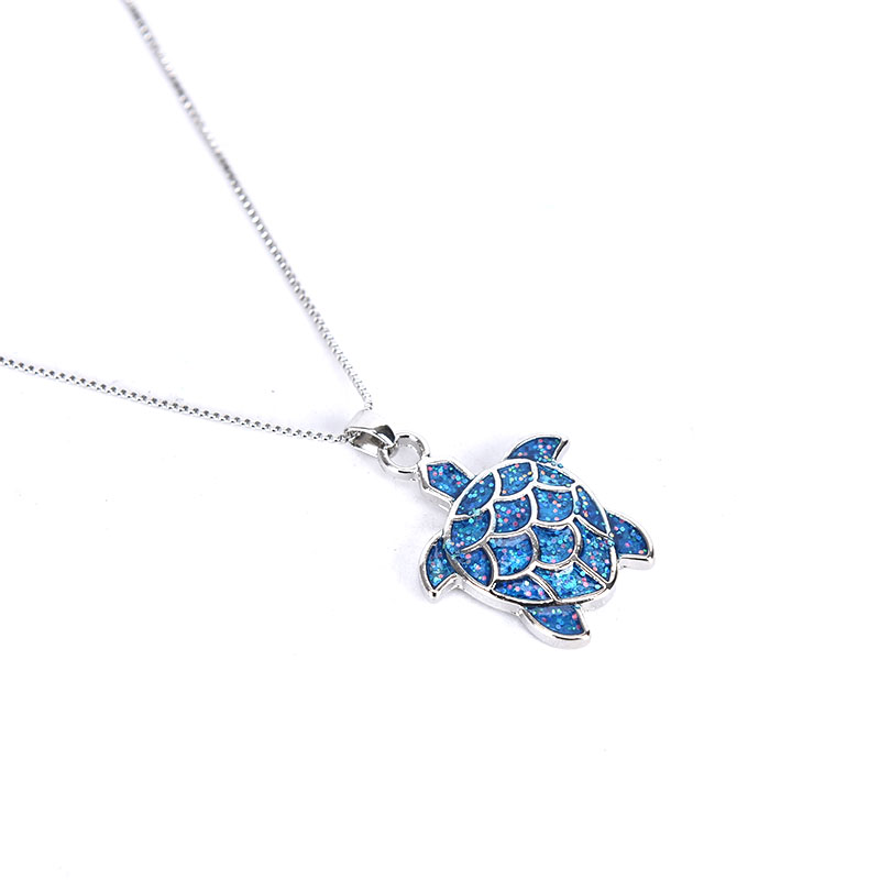 Fashion Blue Opal Sea Turtle Silver Charm Pendant Necklace Ocean Jewelry Gift