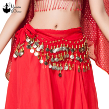 High Quality New Belly Dance 128 Coins Waist Chain Dance Wear Hip Scarf For Women Ladies Dancing Waist Belt