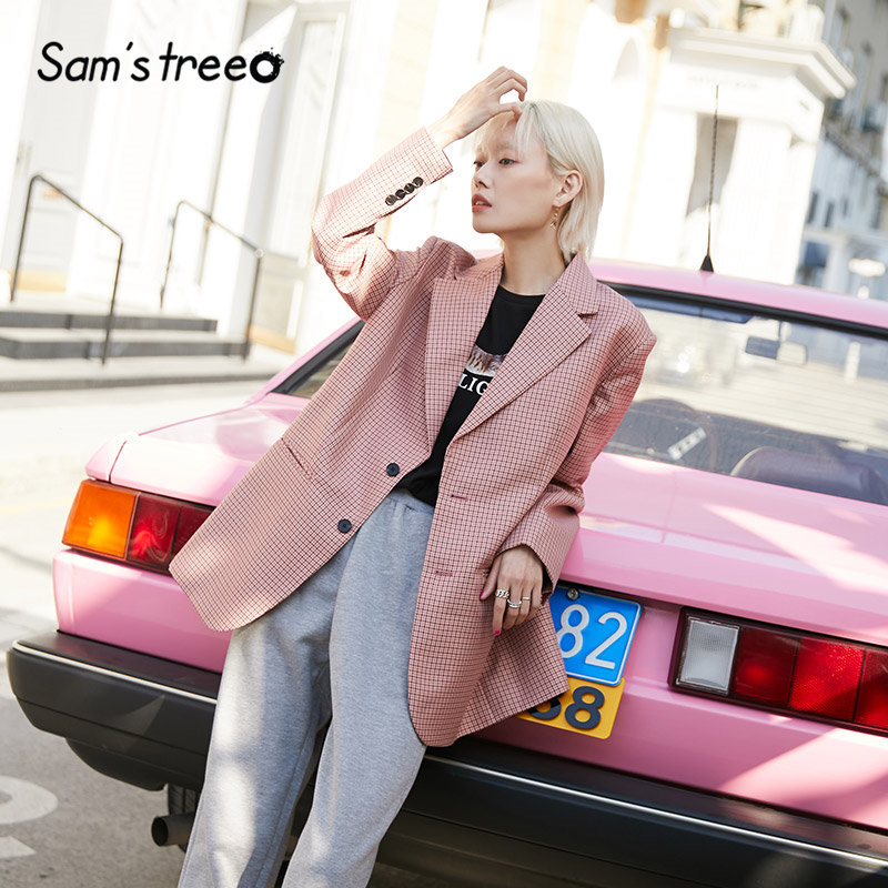 SAM'S TREE Korean Oversize Women Blazer 2020 Spring Pink Plaid British Style Office Ladies Loose Jacket Brown Female Blazers