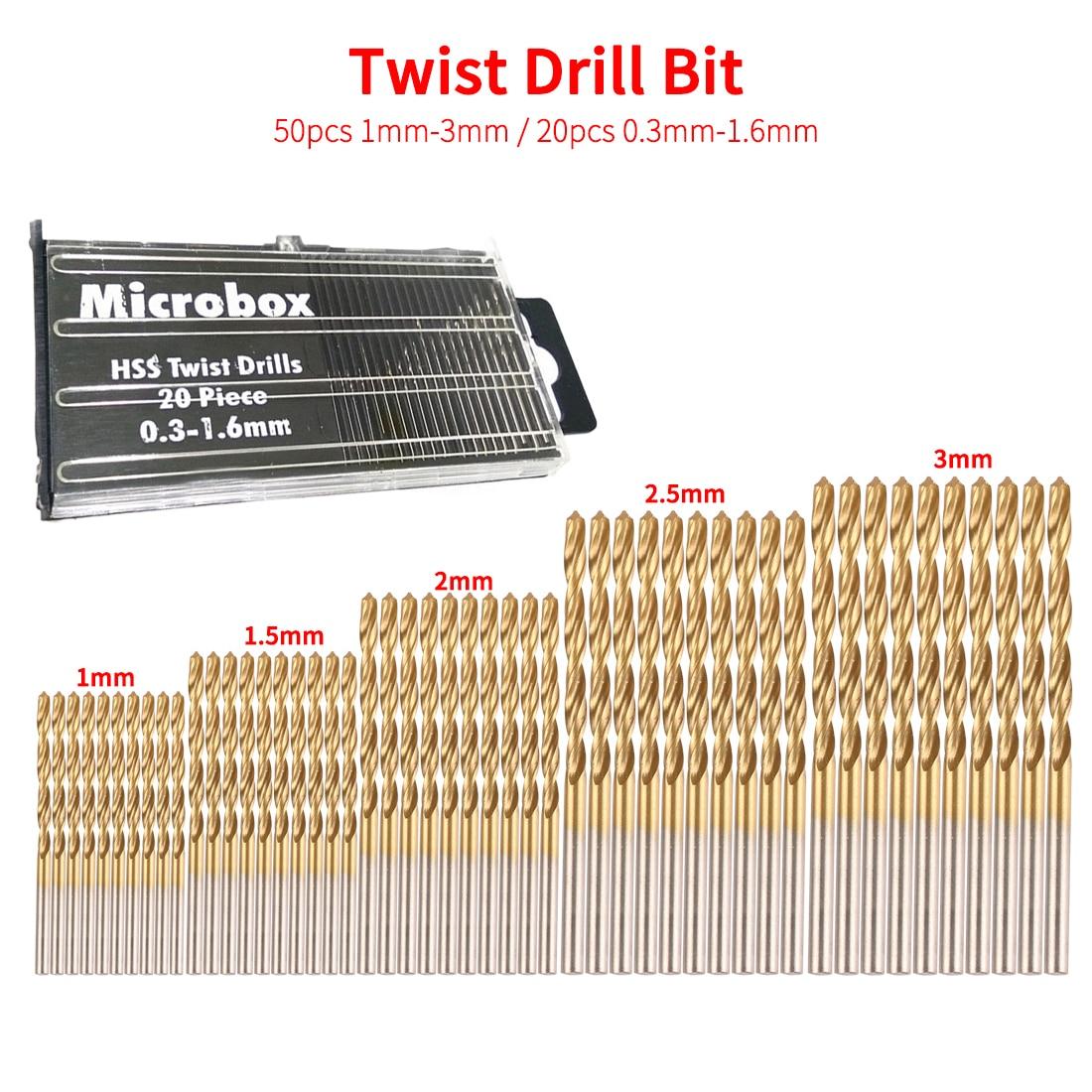 50pcs 1/1.5/2/2.5/3mm Titanium Coated HSS Twist Drill Bit Set Tool Twist Drill Bit Woodworking Tools For Plastic Metal Wood