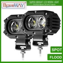 BraveWay Lumière De Travail LED Phares Lumière D'appoint pour ATV Voiture Moto Camion 4x4 Hors Route Assistée Lampe Conduite DRL 12V 24V 48W