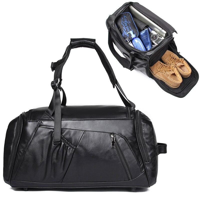 Véritable sac de voyage en cuir de vache hommes femmes grande capacité doux décontracté voyage polochon multifonction grande entreprise bagages week-end sac
