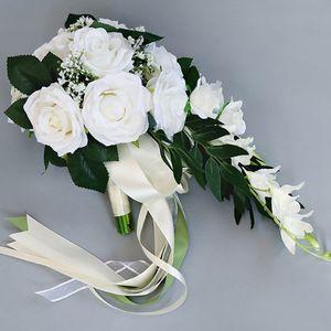 Image 3 - رومانسية الزفاف الزفاف الشلال باقة بوكيه ورد صناعي الزهور مع الشريط