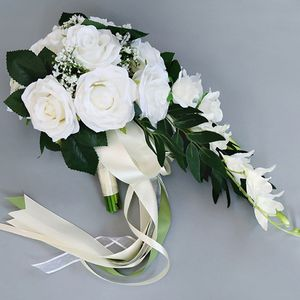 Image 3 - Romantic Wedding Bridal Waterfall Bouquet Artificial Rose Flowers with Ribbon