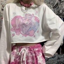 Harajuku kawaii bonito dos desenhos animados anime menina impresso camiseta de manga longa branco tshirts feminino doce topos solto pullovers roupas da mulher