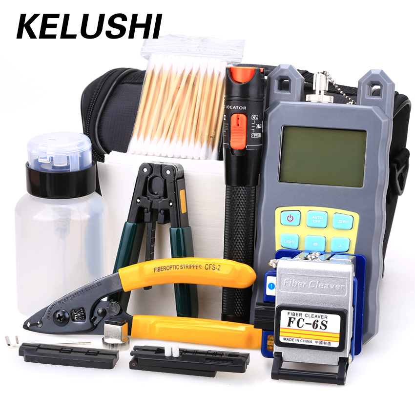 KELUSHI 21 σε 1 Fiber Optic FTTH Tool Kit με FC-6S Fiber Cleaver, Optical Power Meter, 10km Visual Fault Locator Wire stripper