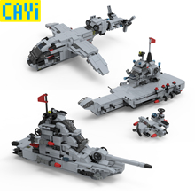 CAYI 703pcs Combined Deformation Series Aircraft Warship Vehicle Fighter DIY Kid Gifts Toys LegOINGs War City Building Blocks