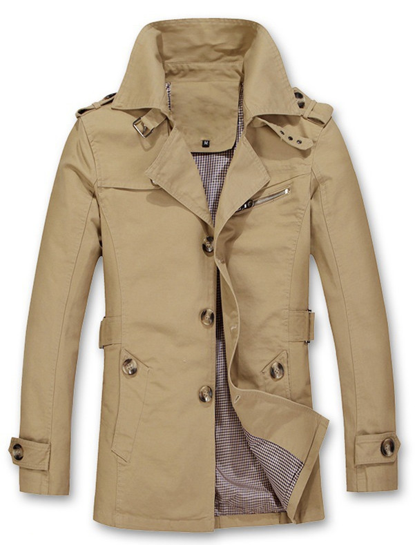 Trench-Coat Long-Jacket Autumn Mens High-Quality Casual New Winter