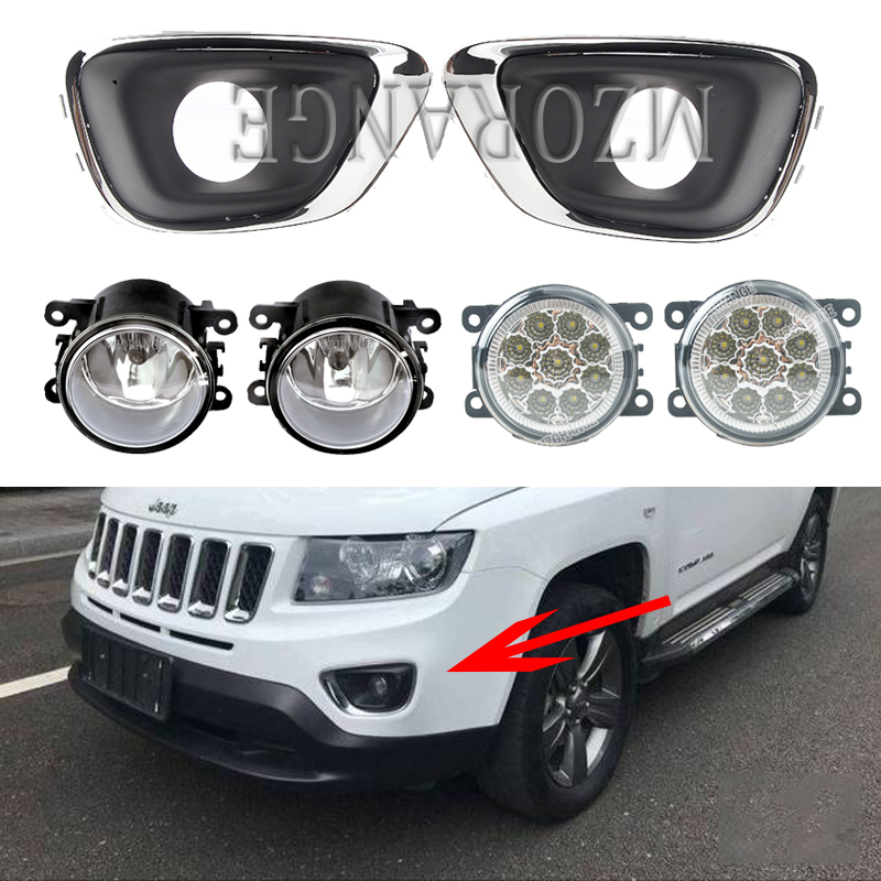 LED Fog Lights For Jeep Compass 2011-2017 Fog Lights Fog Light Halogen Headlight Headlights Covers Foglight Frame Grille Grilles