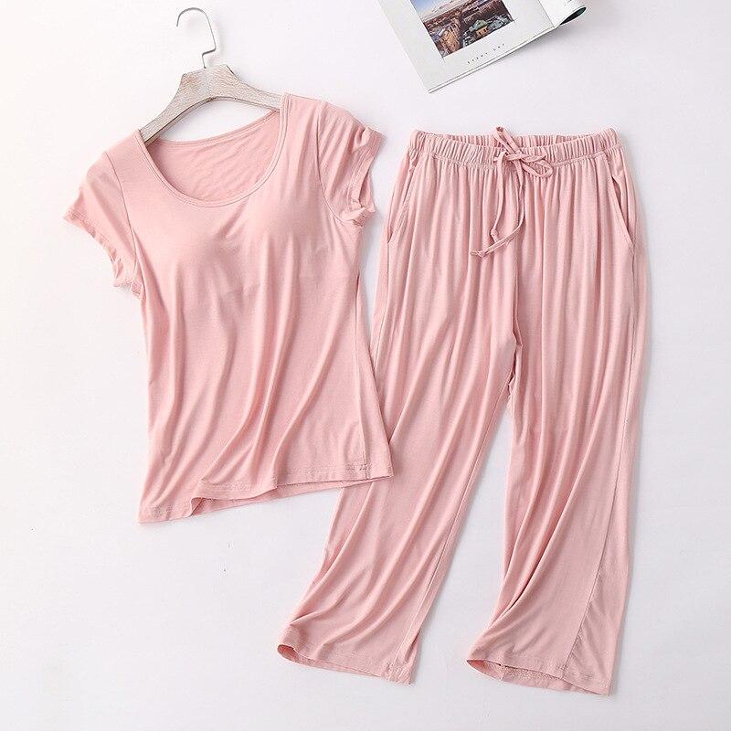 Sanderala Sexy Women Modal Bra-T New Pajamas Sets Padded Top Pants All Match Comfortable Pink Sleepwear Solid Short Lingerie